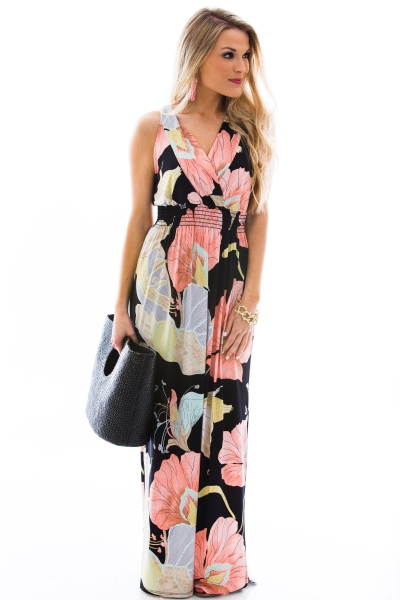 Smocked Waist Maxi, Floral