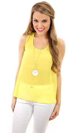 Sheer Thoughts Top, Yellow