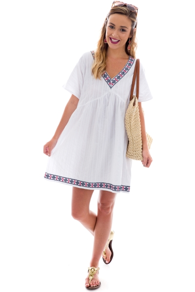 Lodi Embroidered Dress, White
