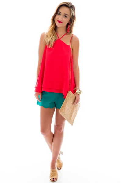 Strappy Swing Tank, Red