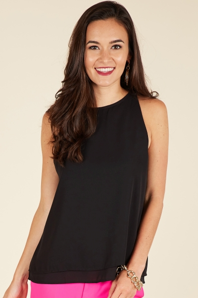 Dani Double Layer Tank, Black