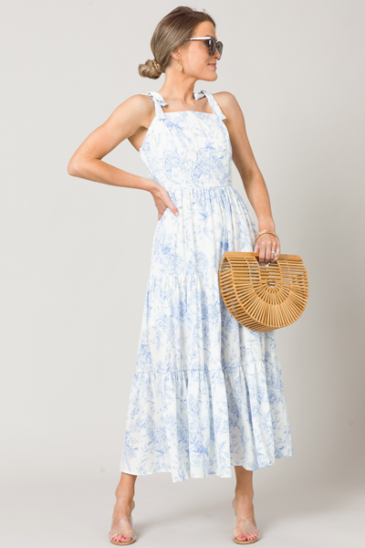 Bow Strap Chinoserie Maxi, Blue