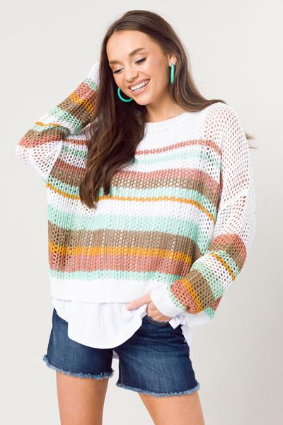 Stripe Open Stitch Sweater, Aqua