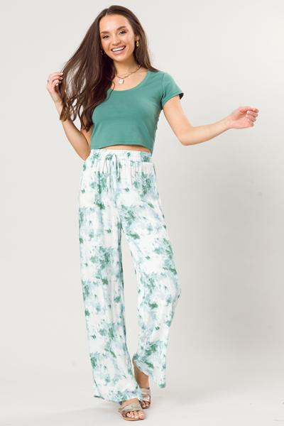 Wide Leg Dye Pants, Green