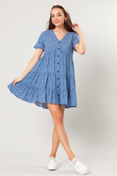 Webbed Print Button Dress, Blue