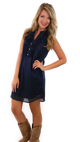 At Your Leisure Dress, Navy