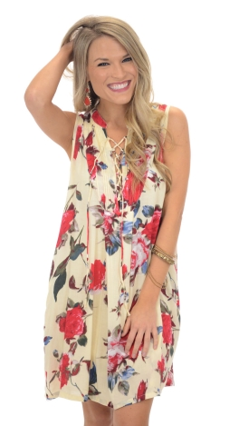 Lace Up Floral Dress, Cream