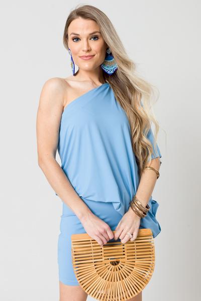 Stretchy One Shoulder Dress, Blue