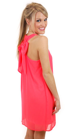 Neon Bow Dress, Coral