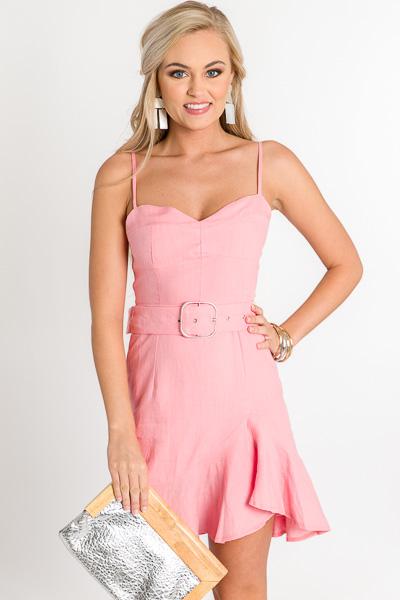 Belted Linen Dress, Pink