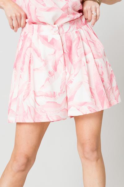 Tropics Shorts, Ivory/Pink