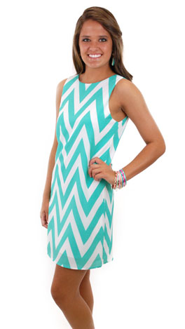 Slip into Chevron Dress, Jade