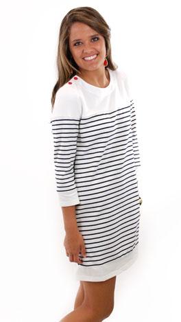 Nautical Watch Dress, White