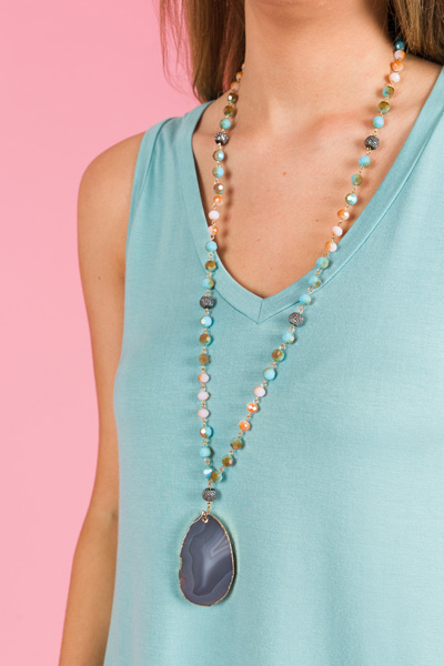 Stones Throw Necklace, Turquoise Multi