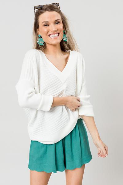 Ribbed Stripes Sweater, Cream