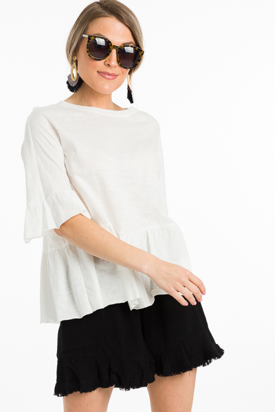 Raw Seam Ivory Peplum Top