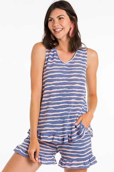 Striped Short Set, Navy