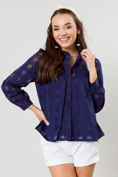 Seeing Squares Button Top, Navy