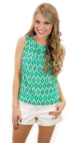 Green Ikat Top