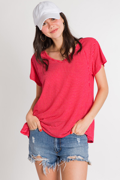 Simply Striped Tee, Red