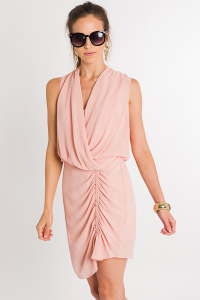 Gossip Girl Ruched Dress, Blush