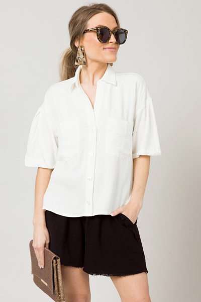 Ivory Boxy Linen Button Up