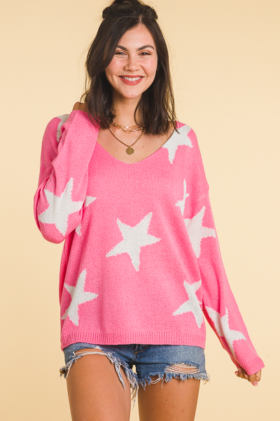 Wish On A Star Sweater, Pink