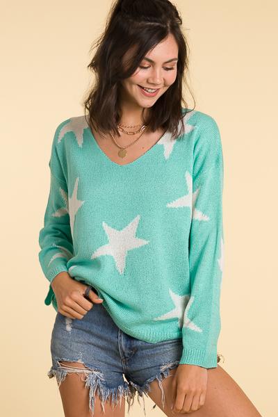 Wish On A Star Sweater, Mint