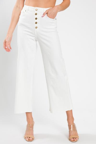 Jen Button Fly Jeans, White