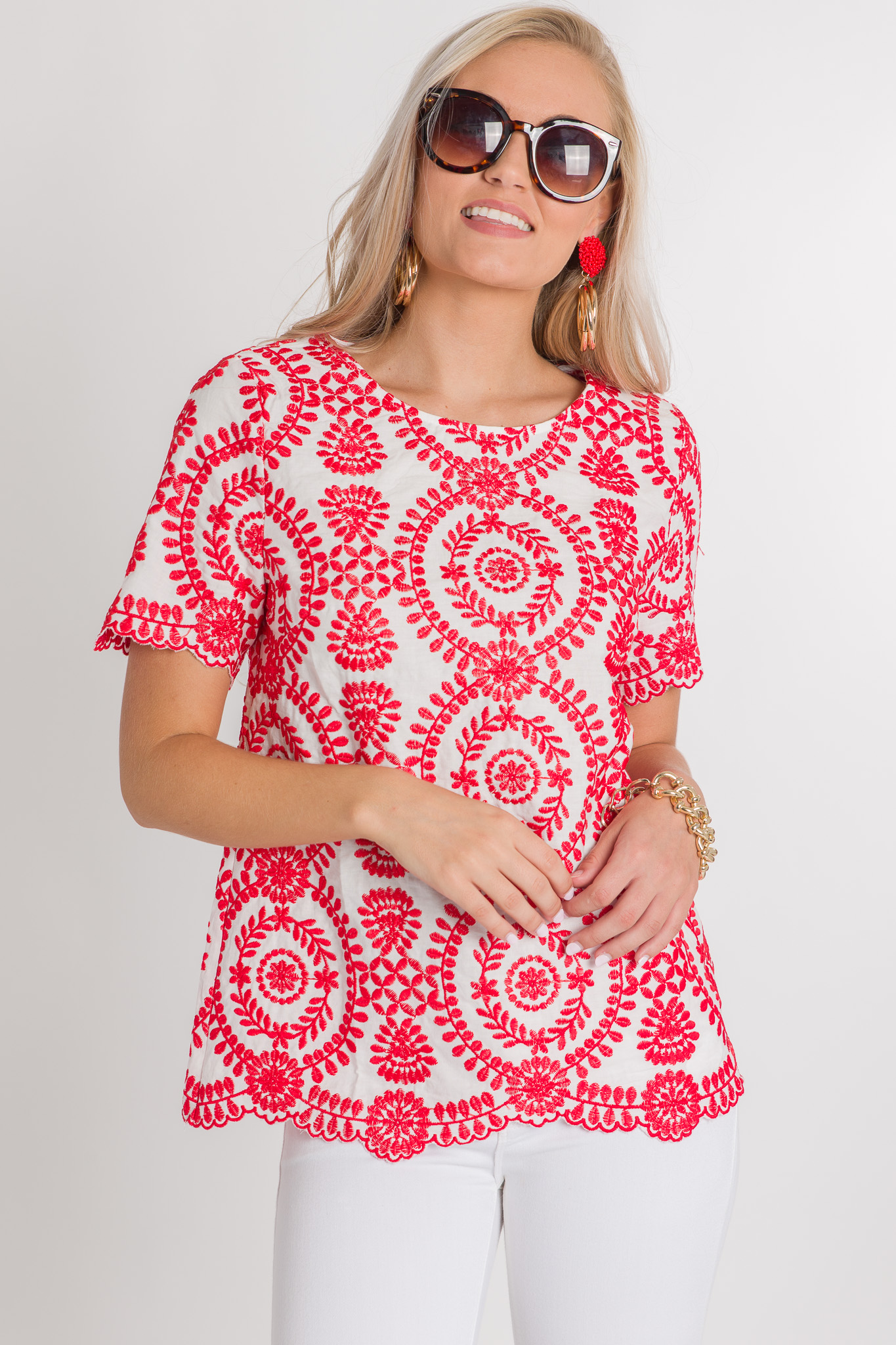 Embroidered Vines Top, Red