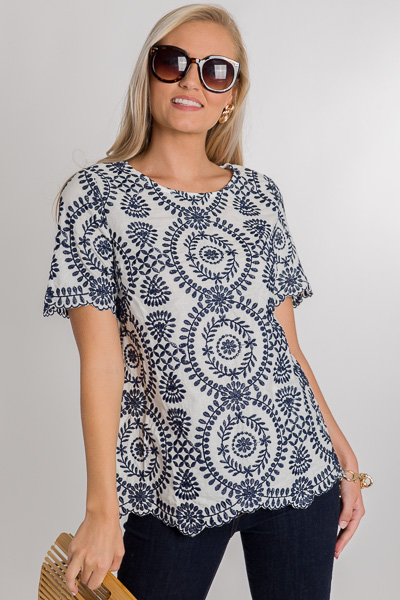 Embroidered Vines Top, Navy