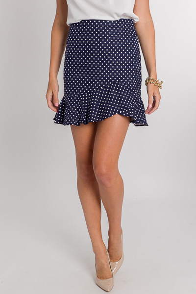 Classically Dotted Skirt, Navy