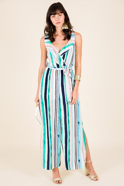 Watercolor Stripes Jumpsuit