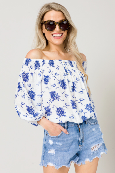 Banded Floral OTS Top, White/Blue