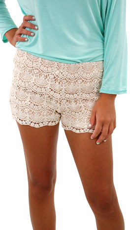Stretch Waist Crochet Shorts