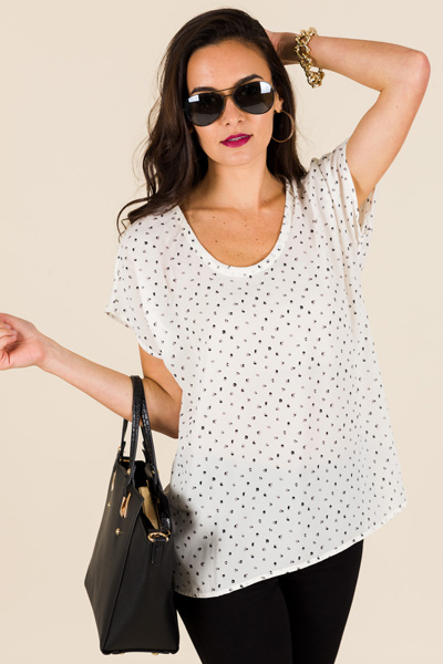 Bitsy Dot Blouse, Cream
