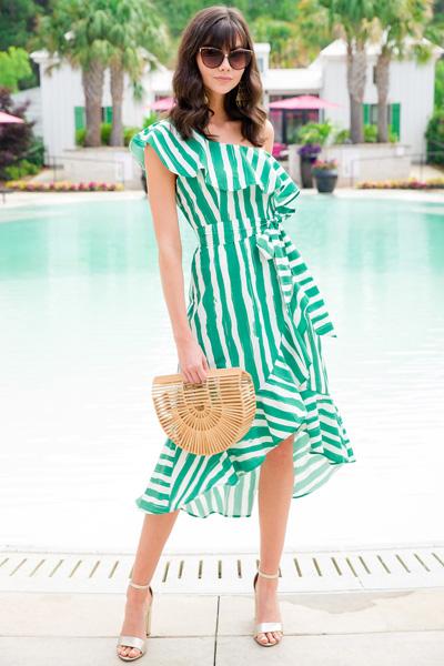Salsa Striped Dress, Green