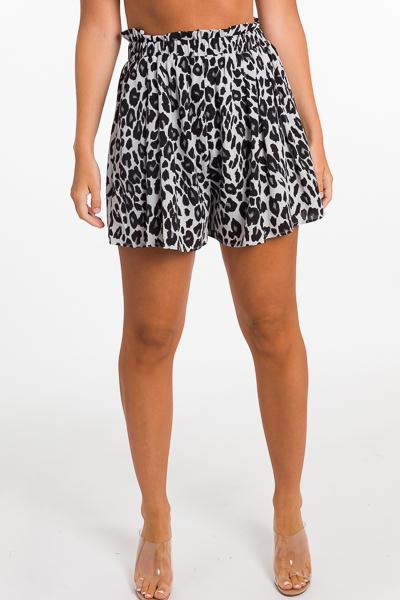 Smock Waist Animal Shorts, Grey