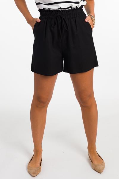 High Waist Linen Shorts, Black