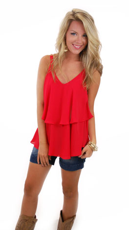 Stud Strap Cami, Red