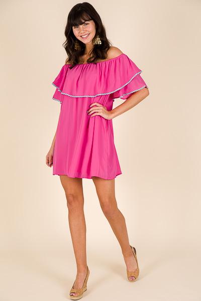 Ric Rac Dress, Hot Pink