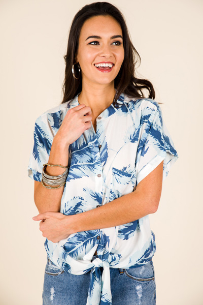 Blue Palms Tie Top