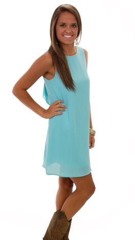 Bow Back Tank Dress, Blue