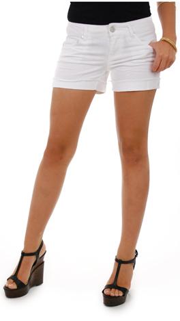 Cut Off Cuff Shorts, White