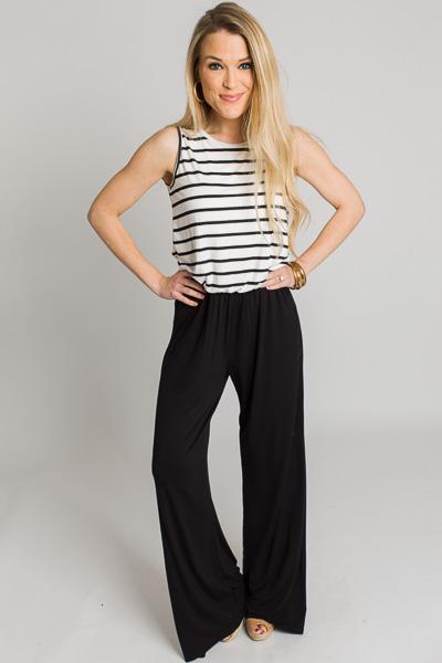 Stripe Pocket Jumpsuit, Black