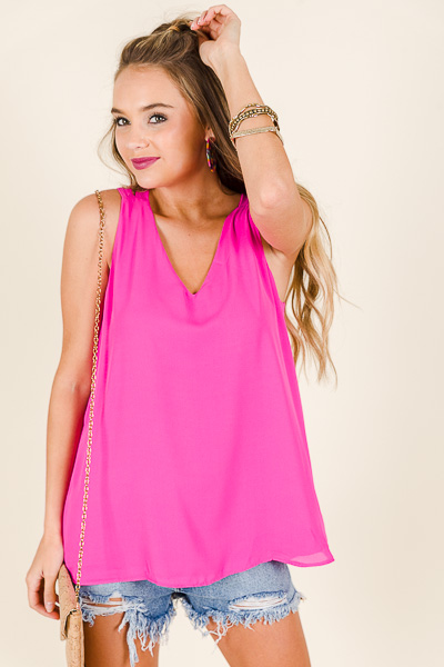 X Back Cami, Hot Pink