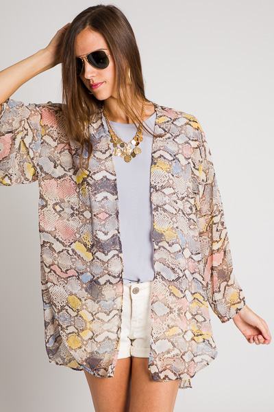 Color Blots Snake Kimono