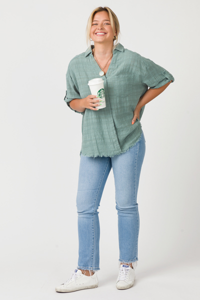 Fray Cotton Collar Top, Mint
