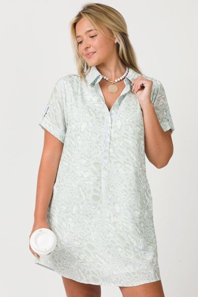 Pocket Shirt Dress, Sage Leopard