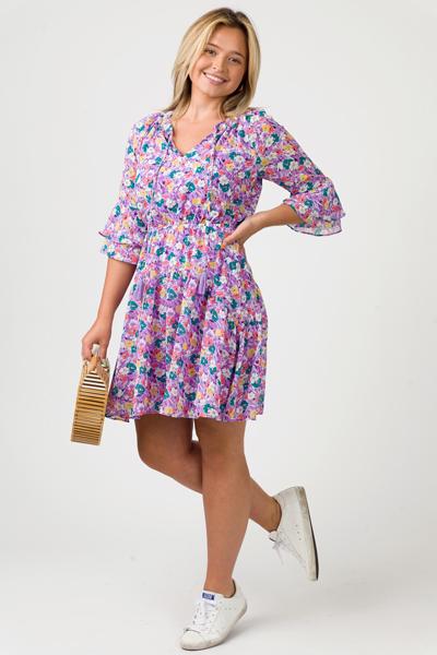 Multi Floral Dress, Lavender